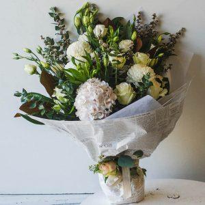 white seasonal flowers bouquet