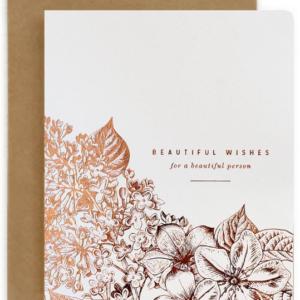 beautiful wishes letterpress card