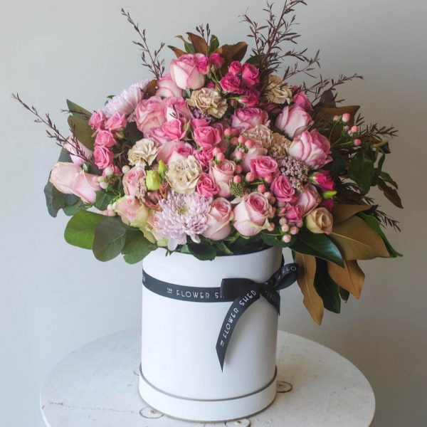 fifty shades of pink flower hatbox