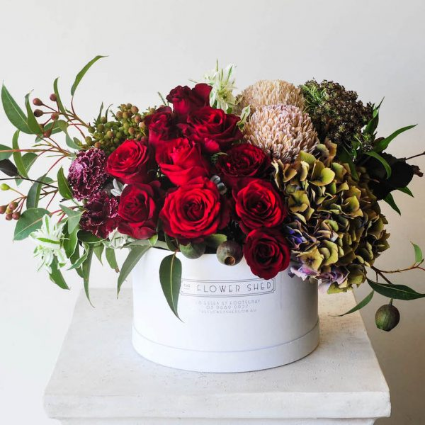 wild red flower arrangement