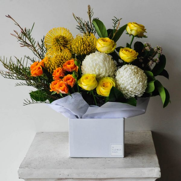 cheerful flower box arrangement